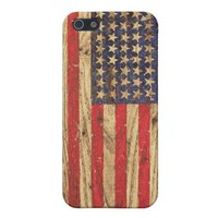 Vintage Patriotic American Flag on Old Wood Grain Case For iPhone 5 from Zazzle.com