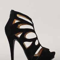 Liliana Claudia-11 Butterfly Caged Cut Out Stiletto Heel