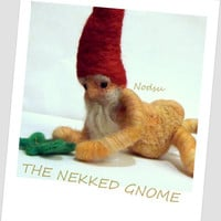 MATURE felted naked naughty gnome nudity MADE  to ORDER by nodsu