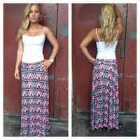 Teal & Pink Aztec Pattern Maxi Roll Down Skirt