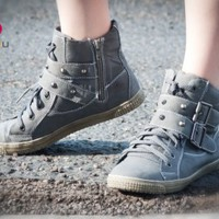DeBlossom Cassey-13 Spike Lace Up Round Sneaker (Grey) - Shoes 4 U Las Vegas