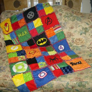Custom Made Superhero Super Hero Minky Appliqued Rag Quilt Blanket