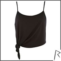 Black Rihanna knot front cropped cami top