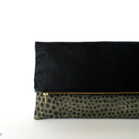 The Perfect Little Black Bag - Hybrid Foldover Clutch - Vegan Leather