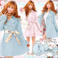 Rakuten: Popular!beautiful silhouette!!refined princess flare trench coat ♪lining is Rose pattern- Shopping Japanese products from Japan