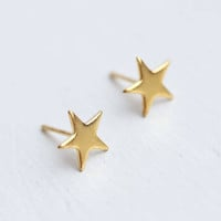 Raw Bronze Star Stud geometric simple dainty petite earrings gold color