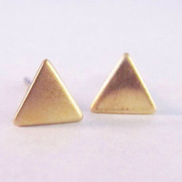 Raw Bronze Triangle Stud geometric simple dainty petite earrings gold color