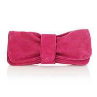 Oasis Shop | Fushcia Suede Bow Clutch Bag | Womens Fashion Clothing | Oasis Stores UK