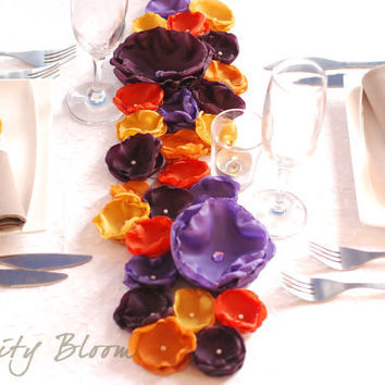 Fall Wedding Tablescape PURPLE And ORANGE From InfinityBloom On