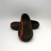 Felted slippers  wool clogs  brown and orange  size by AgnesFelt