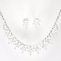 Striking and Elegant New Jewelry Set - Bridal or Prom: Silver with Imported Crystal / Rhinestone