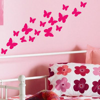 Girls Room set of 17 Charming Butterflies vinyl wall art sticker decal