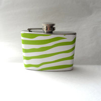Stainless Steel Hip Flask with lime green zebra stripe wrap - 4oz 6oz 2oz 1oz