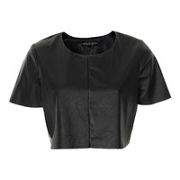 Petite Leather Look Crop Top - Topshop