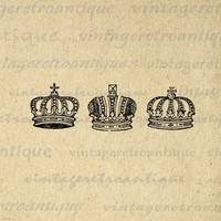 Crown Set Printable Digital Download Collage Sheet Graphic Royal Image Vintage Clip Art for Transfers etc HQ 300dpi No.623