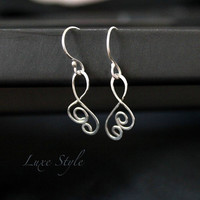 Sterling Silver Dangle earrings Eco friendly Metal EarRings Handmade Jewelry Contemporary Modern Luxe Style
