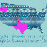 CIJ Personalized USA art print map long distance friendship or love