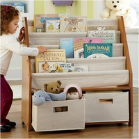 One Step Ahead - Kids' Sling Bookshelf with Storage Bins Non-Personalized - Natural