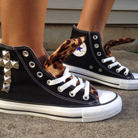 Leopard Cross Studded Converse Shoe