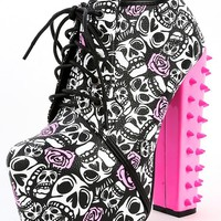 Red Kiss Mona Pink Skull Spike Booties | MakeMeChic.com