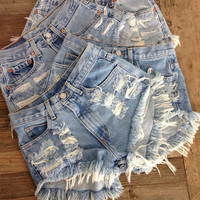 Shredded Leg High Waisted Levis Shorts by BohoChildGarments
