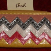Gorgeous Yellow Leather NWT Fossil Zigzag Design Clutch/Wallet Discontinued!!