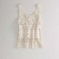 AE Crocheted Lace Tank - American Eagle Outfitters