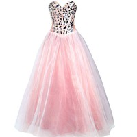 Faironly Light Pink Formal Prom Ball Dress
