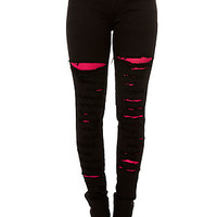 Tripp NYC Jeans Pink Fishnet Underlay in Black