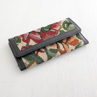 Vintage Floral Wallet - Womens Black Faux Leather Billfold Organizer / Needlepoint Flowers