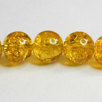 Crackle Glass Dark Yellow Beads 8mm