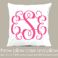 monogram throw pillow and pillowcase made to match by zoeysattic