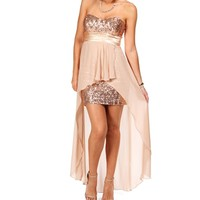 Taupe/Blush Homecoming Dress