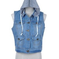 Anna-Kaci S/M Fit Distressed Sleeveless Denim Cropped Vest Jacket w Gray Hood:Amazon:Clothing
