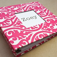 Baby Memory Book - Pink And White Damask