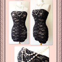 NEW Black Floral Lace Overlay Beige SEXY Ruched Fitted Strapless Bodycon Dress
