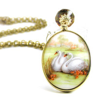 Vintage Swan Pendant Necklace, Gold Jewelry