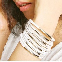 Product - Fashion White Multi Leather Cuff Bracelet by Fashion Collection  Storenvy