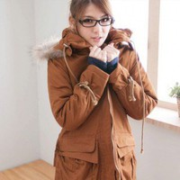 Military Style Hooded Renobable Hat Long Top Coat Camel
