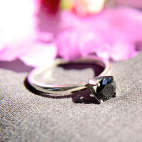 Black Spinel Ring in Solid Sterling Silver, Sterling Silver Ring with Black Spinel, Black Diamond Alternative