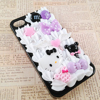 Black iPhone 4/4S Case - Kawaii Decoden Goth Punk Theme - Sweets Deco - Hello Kitty Spooky Black, Purple, Pink - Candy, Bows - Snap on Case