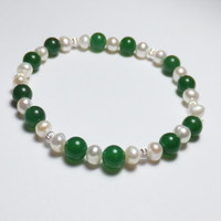 Dark Green Aventurine Stretch Bracelet with Freshwater Pearls and Sterling Silver