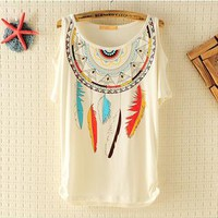Dream Catcher Ethnic Rivet Strapless T-shirt from pomelo
