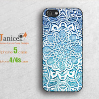 light blue mandala design iphone 5 cases, iphone 4 cases,iphone 4s cases,iphone cases for 4/4s 5 , Plastic or rubber silicon case b0173