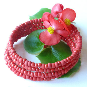 Beaded bracelet stack - Summer coral red stacking bangles