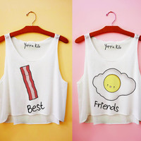 Bacon & Egg Best Friends Crop Tank Tops