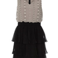 Grey / black embroidered dress - View All New In - What's New - Dorothy Perkins