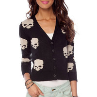 Skulls On Cardigan in Black :: tobi