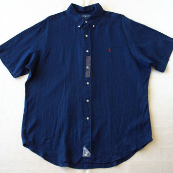 New Polo Ralph Lauren Pony Short Sleeve Linen Button Shirt Navy S