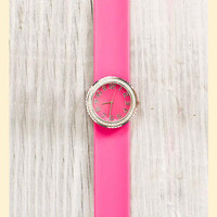Chromatic Slap Watch in Pink                    - Francesca's Collections